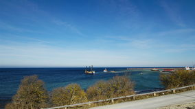 Dredging the ocean floor outside Visby harbor in Sweden stock video footage