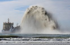 Dredging off the Queensland coast Royalty Free Stock Image