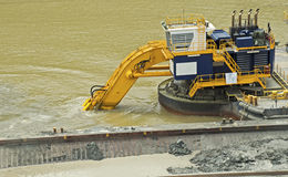 Dredging in the Panama Canal. Dredging from a floating platform in the Panama Canal Stock Photography
