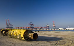 Dredging pipe. A dredging pipe in Rotterdam harbor royalty free stock image