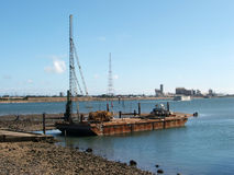 Dredging Platform. A dredging platform used to deeped the shippign channels Royalty Free Stock Photography