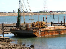 Dredging Platform. Used to deepen the shipping channel Royalty Free Stock Images