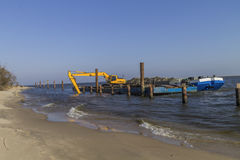 Dredging the river Royalty Free Stock Image