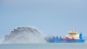 Dredging Ship at Work Royalty Free Stock Photo
