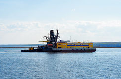 Dredging shovel platform royalty free stock photos