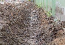 Dredging, soil in village stock photography