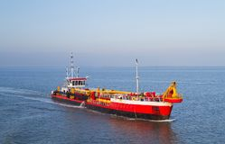 Dredging vessel on sea royalty free stock photos