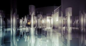 内部, 3d企业室、霍尔大厦与光和reflec 免版税库存照片