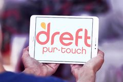 Dreft laundry detergent brand logo. Logo of Dreft brand on samsung tablet. Dreft is a laundry detergent in the United States, Canada, United Kingdom and other royalty free stock image