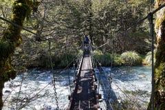 Drehbrücke, hoffnungsloser Nebenfluss, Nelson Lakes National Park, Neuseeland stockfotografie