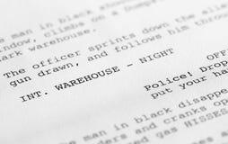 Drehbuchnahaufnahme 2 (generischer Filmtext geschrieben vom Fotografen Stockfoto