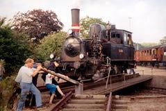 Drehen der Lokomotive Stockfotografie