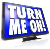Drehen Sie mich auf Fernsehuhr-Programm Wörter Fernsehen HDTV Lizenzfreies Stockbild
