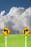 Drehen Sie sich nach rechts und drehen Sie linkes Zeichen Lizenzfreie Stockbilder