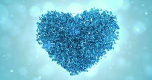 Drehende blaue Rose Flower Petals In Heart-Form-Hintergrund-Schleife 4k lizenzfreie abbildung