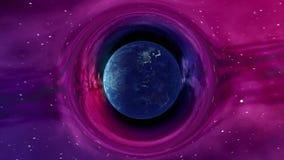 Drehende Erde in gebogenem Raum vektor abbildung