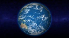 Drehende Erde mit entwickelnden Wolken und Sonnenuntergang (Lo lizenzfreie abbildung