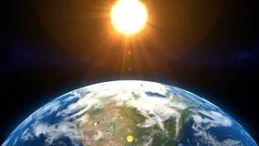 Drehende Erde mit entwickelnder Wolken Bauchbinde (L stock abbildung