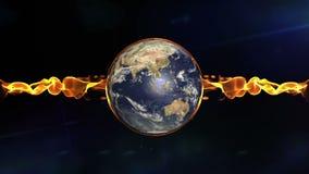 Drehende Erde und Aufflackernfeuer stock footage