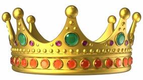 Drehende goldene königliche Krone lizenzfreie abbildung