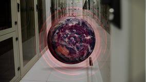 Drehende Kugel mit roten Kreisen stock footage