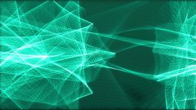 Drehende Linien der lebhaften abstrakten blauen Energie auf dem dunkelgrünen Hintergrund stock footage