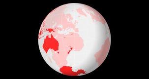 Drehende transparente Kugel, südliche Hemisphäre mit Länge - Breite zeichnet stock video