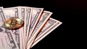 Drehender Geschäftshintergrund mit 100 US-Dollars Banknoten stock video footage