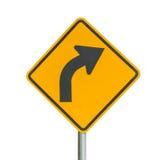Drehendes Warnzeichen der gelben unübersichtlichen Kurve auf einer radfahrenden Spur Lizenzfreies Stockbild