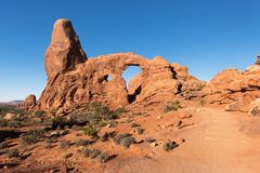 Drehkopf-Bogen gelegen im Bogen-Nationalpark Utah stockfoto