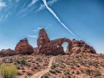 Drehkopf-Bogen im Bogen-Nationaldenkmal, Utah Lizenzfreie Stockbilder