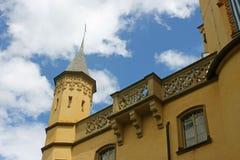 Drehkopf Schloss Hohen Schwangau und Geländerdetail stockfoto