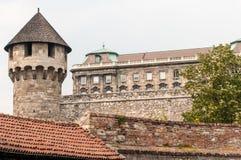 Drehkopf u. Palast, Buda, Ungarn stockbilder