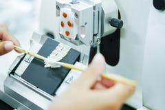 Drehmikrotom-Abschnitt für Diagnose in der Pathologie machen microsc stockbilder
