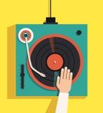 Drehscheibe mit DJ-Händen Flache Illustration des Vektors Stockbild