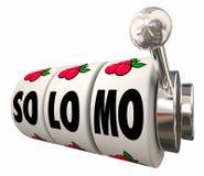 So dreht Maschine Lo Mo Social Local Mobile Slot Kranken der Strategie-3d Stockbilder