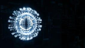 dreht sich blauer Bereich 3D in Raum, Hintergrund ein Brett der elektrischen Ladung lizenzfreie abbildung