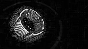 dreht sich grauer Zylinder 3D in Raum, Hintergrund ein Brett der elektrischen Ladung stock video footage