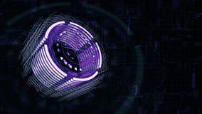dreht sich purpurroter Zylinder 3D in Raum, Hintergrund ein Brett 4K der elektrischen Ladung vektor abbildung