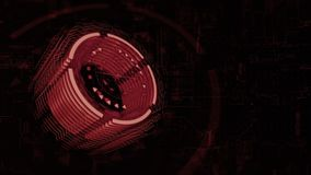dreht sich roter Zylinder 3D in Raum, Hintergrund ein Brett der elektrischen Ladung lizenzfreie abbildung