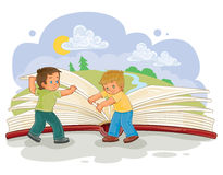 Drehung der kleinen Jungen paginiert großes Buch Lizenzfreies Stockbild