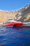 Drehzahlboot verankert im Kanal lizenzfreies stockfoto