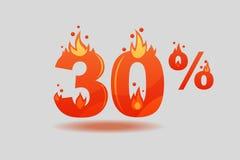 Dreißig-Prozent-Rabatt, Zahlen auf Feuer lizenzfreie abbildung