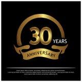 Dreißig Jahre Jahrestag golden Jahrestagsschablonenentwurf für Netz, Spiel, kreatives Plakat, Broschüre, Broschüre, Flieger, Zeit stock abbildung