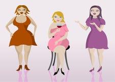 Drei überladene Damen Stockfoto
