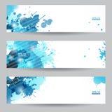 Drei abstrakte künstlerische Titel mit blauen splats Lizenzfreie Stockfotografie
