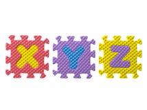 Drei Alphabete auf Weiß Stockfoto