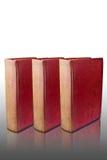 Drei alte Bücher auf reflektiertem Fußboden Stockbilder