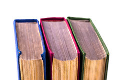 Drei alte Bücher drehten Rückseiteschussnahaufnahme Stockfotografie