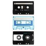 Drei alte Kassetten getrennt auf Weiß Stockfotografie
